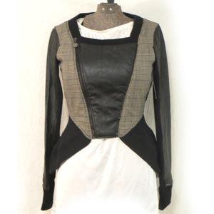 Sean John Bomber Style Vegan Leather Plaid Jacket